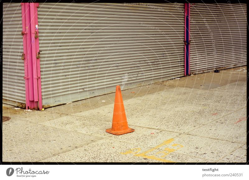 little hat Deserted Signs and labeling Gloomy Closed Vacancy Simple Sidewalk Orange Colour photo Exterior shot Detail Day Traffic cone