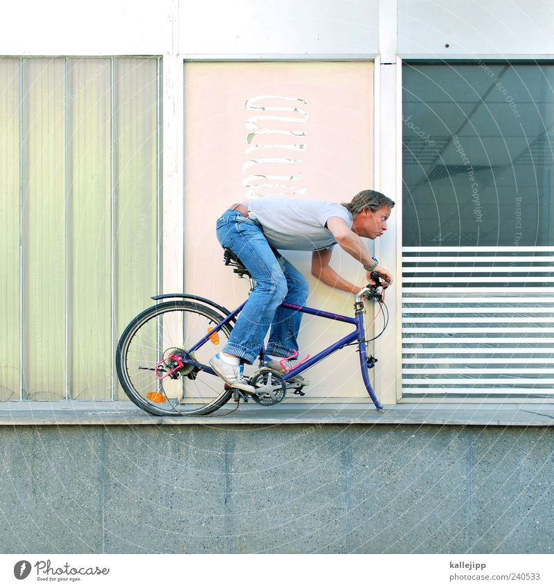 Make it your project Leisure and hobbies Cycling Human being Man Adults 1 30 - 45 years Bicycle Broken Threat Risk Transport Colour photo Exterior shot Light