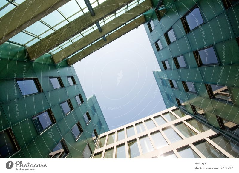 T Bank building Building Architecture Facade Window Perspective Symmetry Skyward Colour photo Exterior shot Deserted Copy Space middle Worm's-eye view