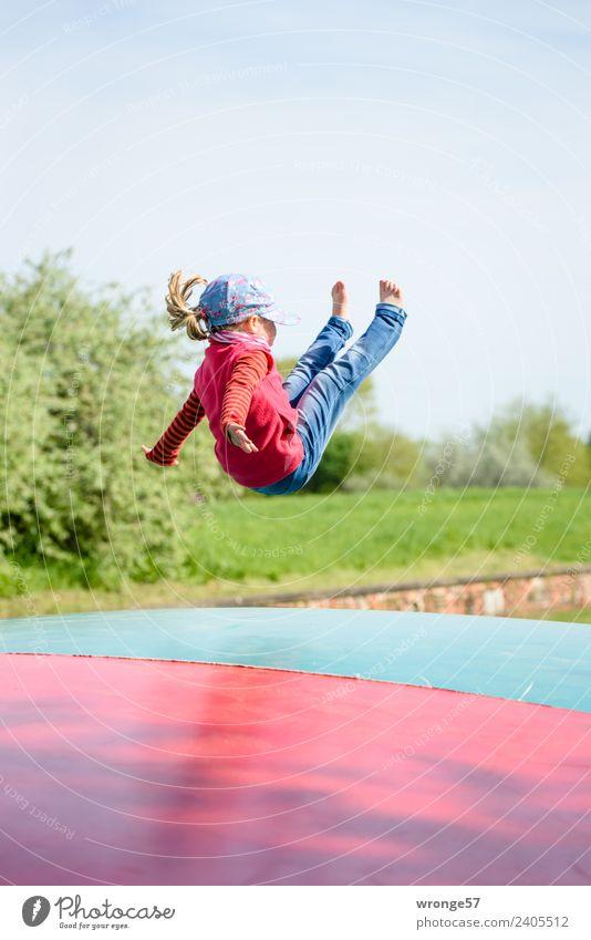 Child Human being Blue Green Red Joy Girl Feminine Playing Flying Jump Infancy Athletic Toddler Playground Hop