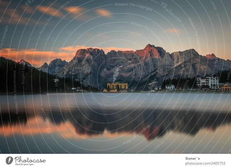Sunrise at Lake Misurina - Cortina d'Ampezzo Relaxation Vacation & Travel Tourism Trip Adventure Freedom Camping Summer vacation Mountain Hiking Landscape Fog