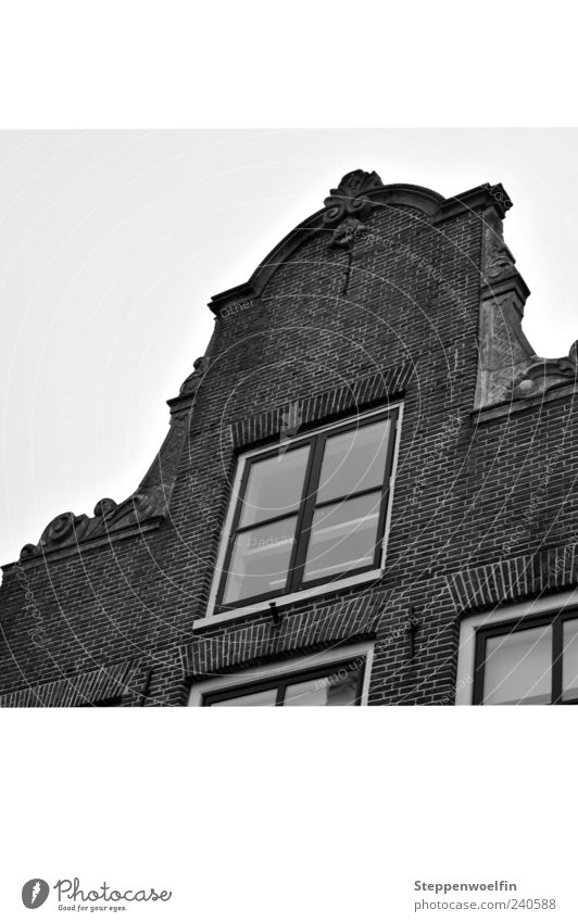 Old House (Residential Structure) Window Gray Facade Decoration Surrealism Netherlands Apartment Building Set Old town Old building Gable Stucco Brick facade