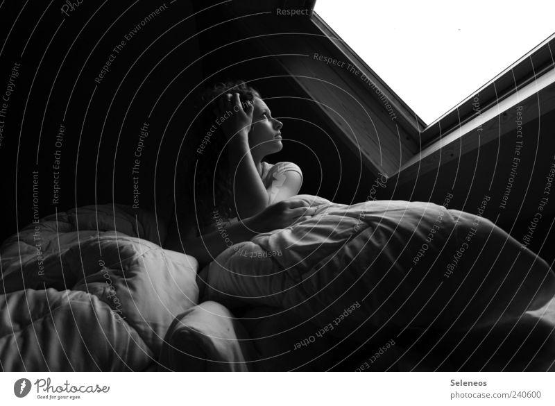 noon hour Living or residing Room Bedroom Human being Feminine Head Arm 1 Observe Sit Cuddly Window Skylight Blanket Cushion Sleep Dream Black & white photo