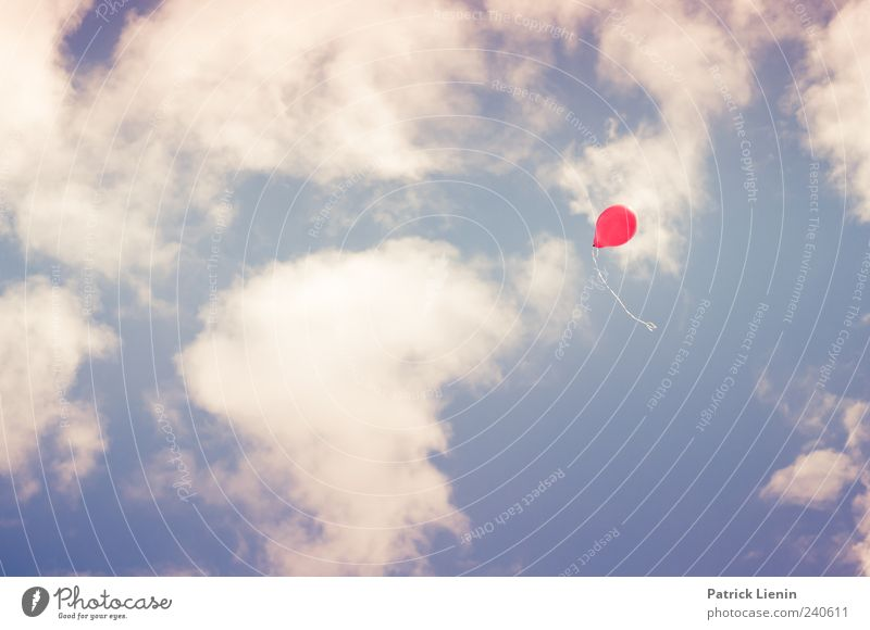 I want a balloon. Leisure and hobbies Environment Elements Air Sky Clouds Weather Beautiful weather Flying Fresh Bright Red Moody Loneliness Dream Balloon