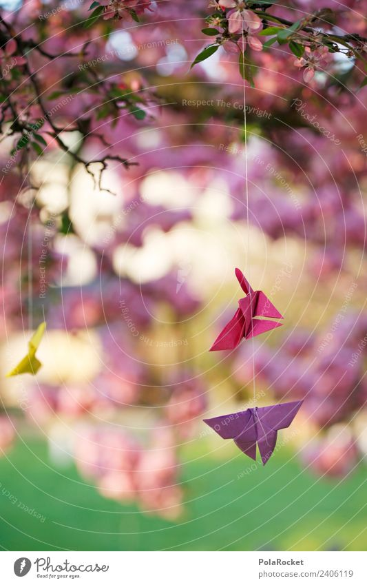 #A# Spring wishes Art Work of art Esthetic Design Decent Wind chime Paper Folded Origami Calm Idyll Dreamily Gorgeous Delicate Decoration Colour photo