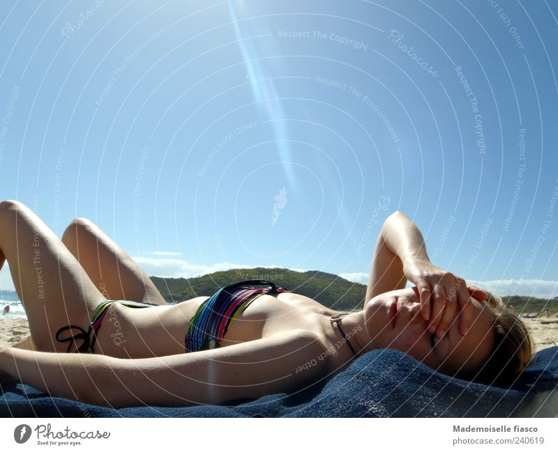 Blinding heat II Skin Relaxation Vacation & Travel Summer vacation Sunbathing Beach Young woman Youth (Young adults) 1 Human being 18 - 30 years Adults