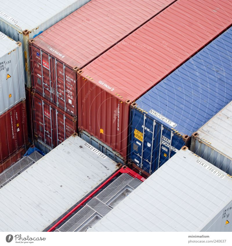 Red blue. Industry Services Logistics Container Financial Industry Colour photo Exterior shot Structures and shapes Deserted Day Light Shallow depth of field