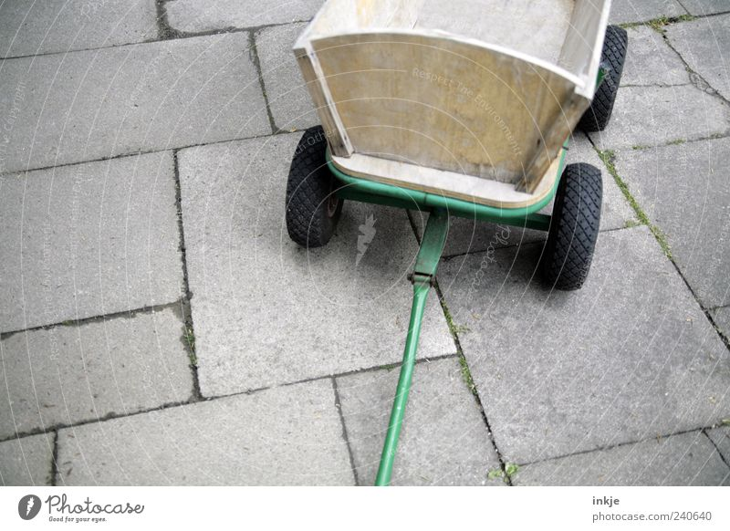 Father's Day is over for this year. Places Terrace Stone slab Transport Trolley Rubber tires Concrete Wood Metal Steel Line Old Stand Simple Brown Gray Green