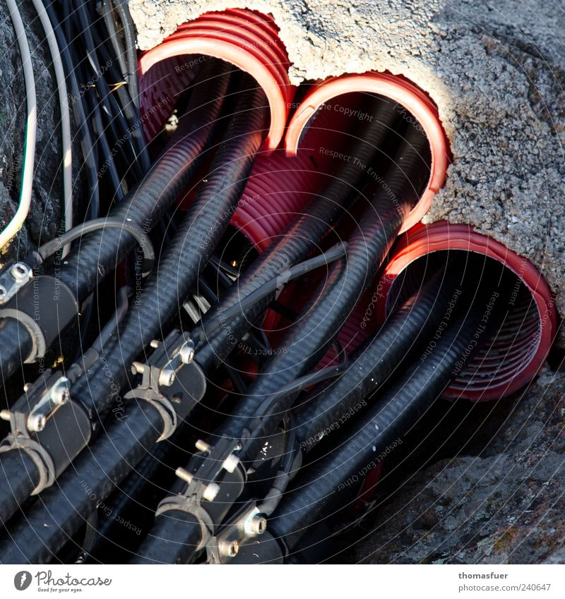 Red Black Stone Earth Cable Network Construction site Telecommunications Technology Internet Plastic Pipe Teamwork Information Technology Connectedness