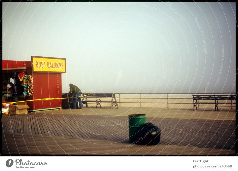 early season Vacation & Travel Tourism Trip Summer vacation Beach Masculine 1 Human being Nature Sand Fog Coast Coney Island Colour photo Twilight Places