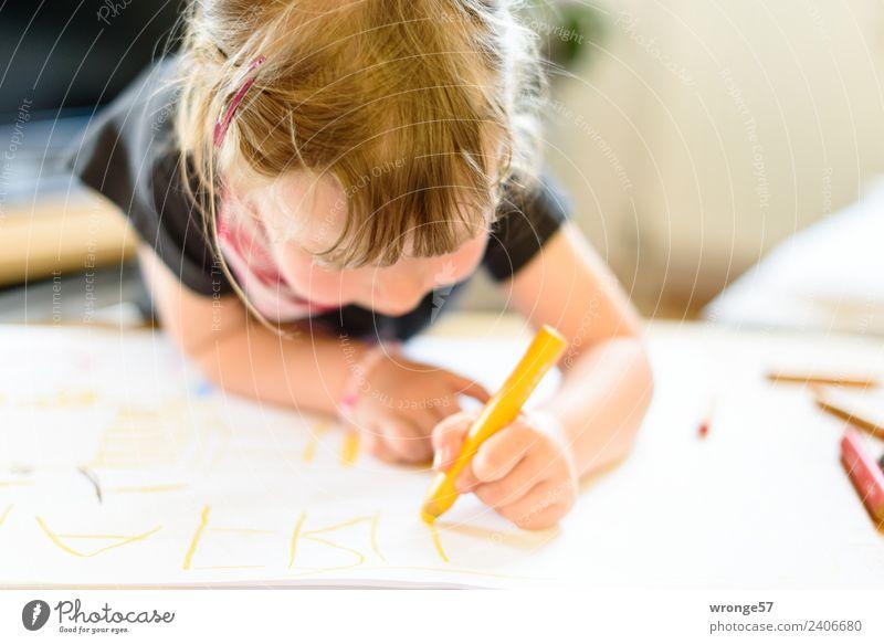 Child Human being Joy Girl Yellow Natural Feminine Infancy Study Paper Write Education Near Draw Toddler Pen