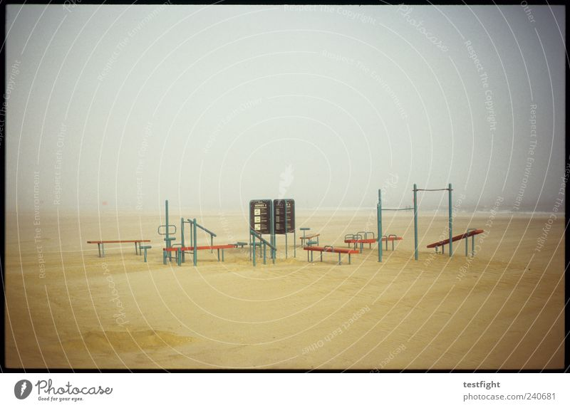 leisure park (analogue version) Tourism Trip Beach Ocean Sporting Complex Environment Nature Landscape Water Fog Gloomy Relaxation Gymnastics Sand Coast