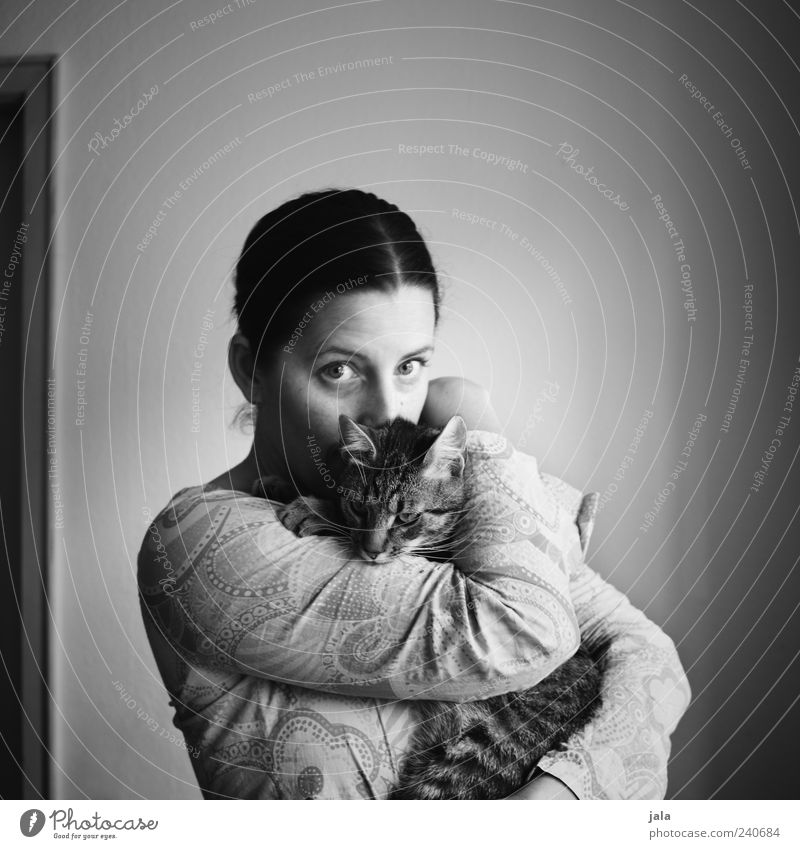 Woman Human being Love Animal Feminine Cat Friendship Together Adults Stand Trust Warm-heartedness Pet Embrace Cuddling Sympathy