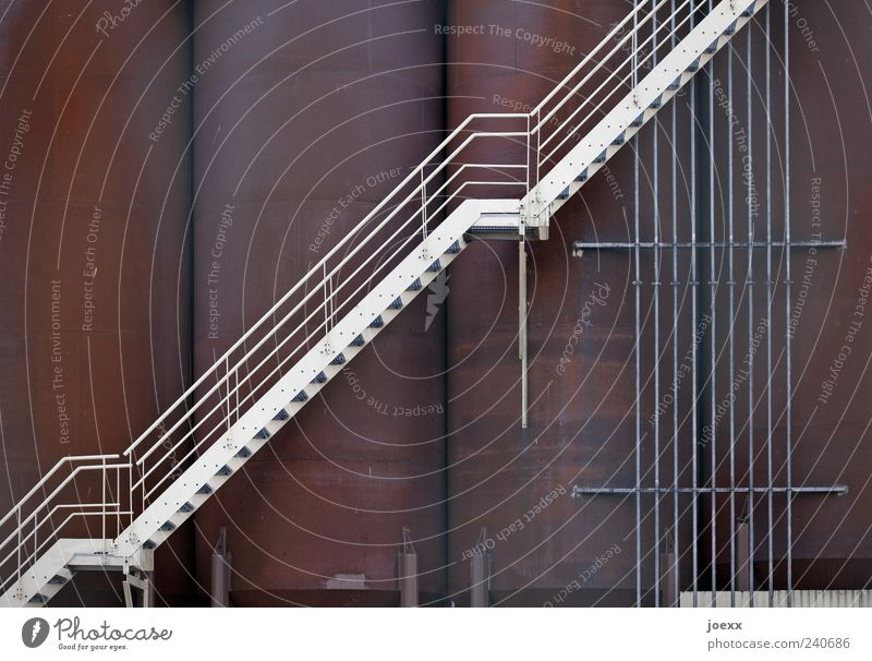 chocolate factory Industrial plant Stairs Metal Steel Old Large Above Multicoloured White Silo steel staircase Banister Steep Rust Colour photo Exterior shot