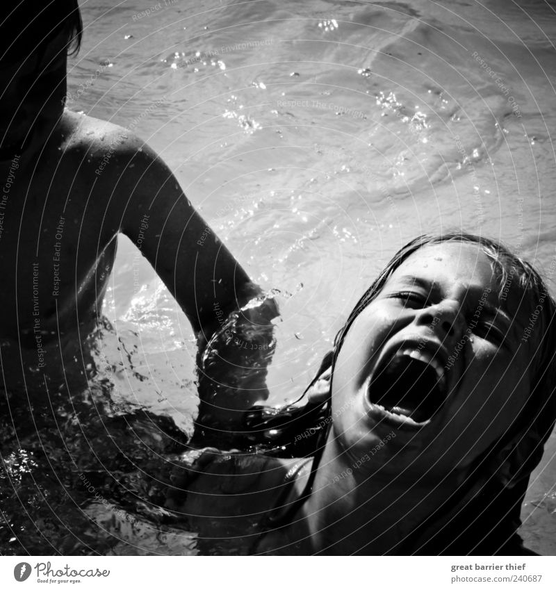 Human being Child Water Summer Girl Boy (child) Swimming & Bathing Infancy Masculine Swimming pool Toddler Anger Force Scream Fight Family & Relations