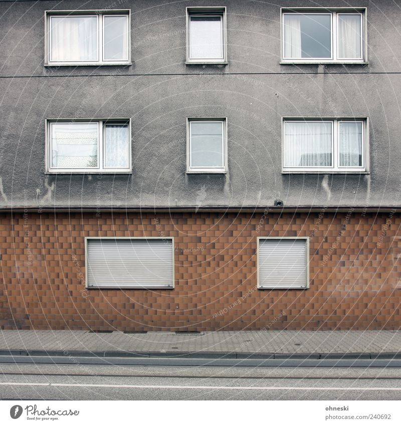 Loneliness House (Residential Structure) Window Wall (building) Architecture Gray Wall (barrier) Building Sadness Facade Gloomy Manmade structures Sidewalk