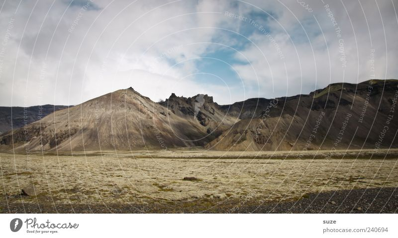 spot of earth Mountain Environment Nature Landscape Sky Clouds Weather Authentic Iceland Colour photo Subdued colour Exterior shot Deserted Copy Space top Day