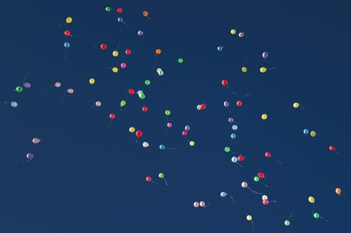 Colourful balloons in the sky Sign Round Multicoloured Emotions Moody Happy Joie de vivre (Vitality) Love Romance Beginning Energy Freedom Joy Life Infinity