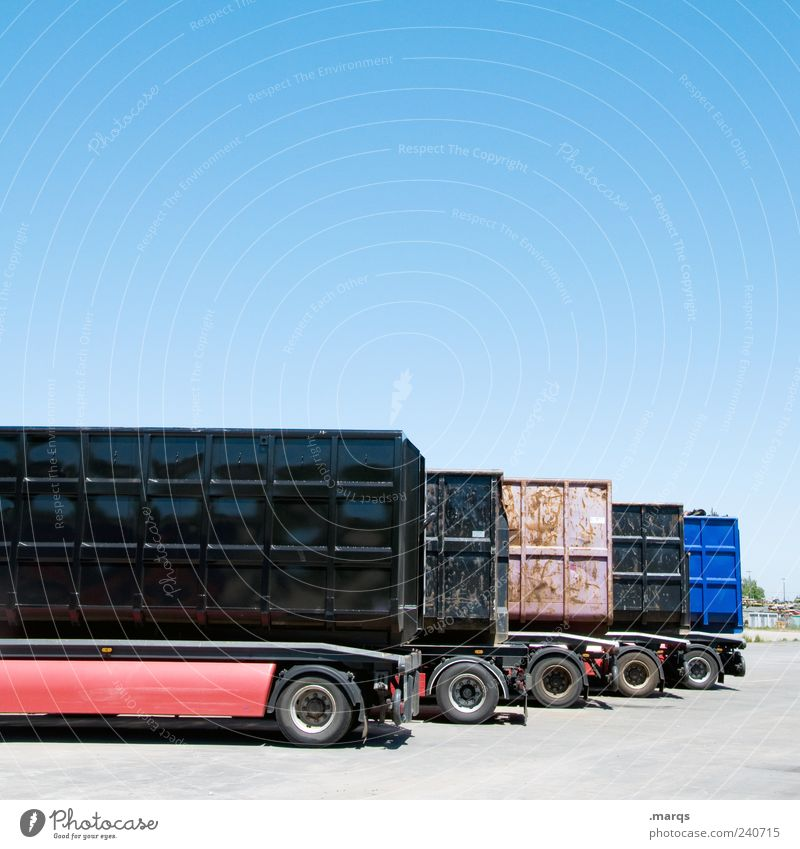 transport Work and employment Economy Logistics Company Cloudless sky Transport Means of transport Truck Flexible Mobility Trailer Container Cargo Parking
