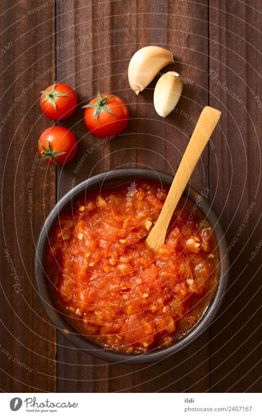 Homemade Marinara or Pomodoro Tomato Sauce Red Dish Healthy Fresh Vegetable Vegetarian diet Top Vertical Rustic Italian Garlic Home-made