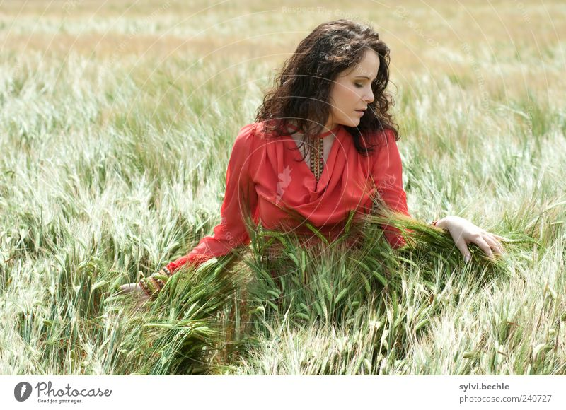 Human being Nature Youth (Young adults) Green Beautiful Red Summer Calm Adults Relaxation Environment Feminine Life Movement Young woman Contentment