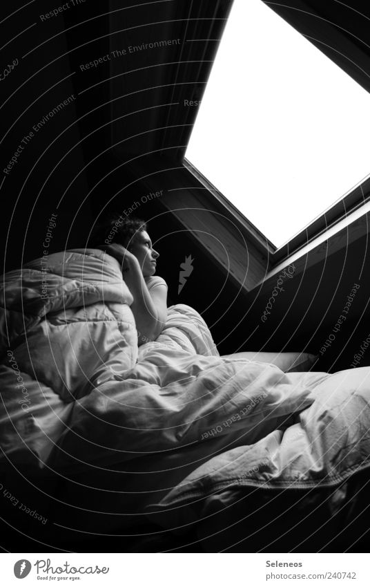 Under the roof Living or residing Flat (apartment) Bed Room Bedroom Human being Feminine 1 Observe Touch Sleep Dream Dark Sharp-edged Bright Cuddly Loneliness