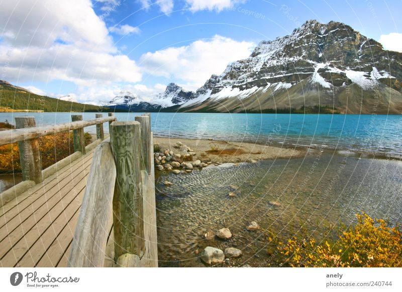 Postcard from Canada Freedom Mountain Nature Landscape Water Clouds Snowcapped peak Lakeside Banff National Park Deserted Esthetic Wild Blue Emotions Beautiful