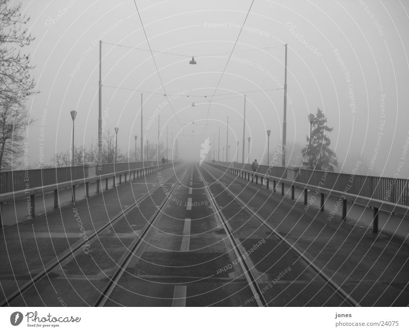 bridge into nothing Fog Railroad tracks Architecture Bridge Black & white photo Canton Bern