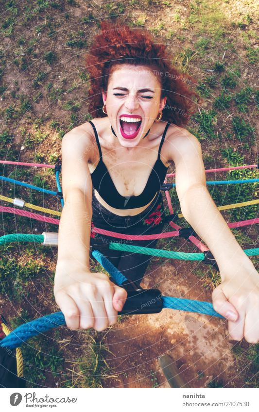Young redhead woman screaming outdoors Human being Nature Youth (Young adults) Young woman Joy 18 - 30 years Adults Lifestyle Funny Sports Feminine Style