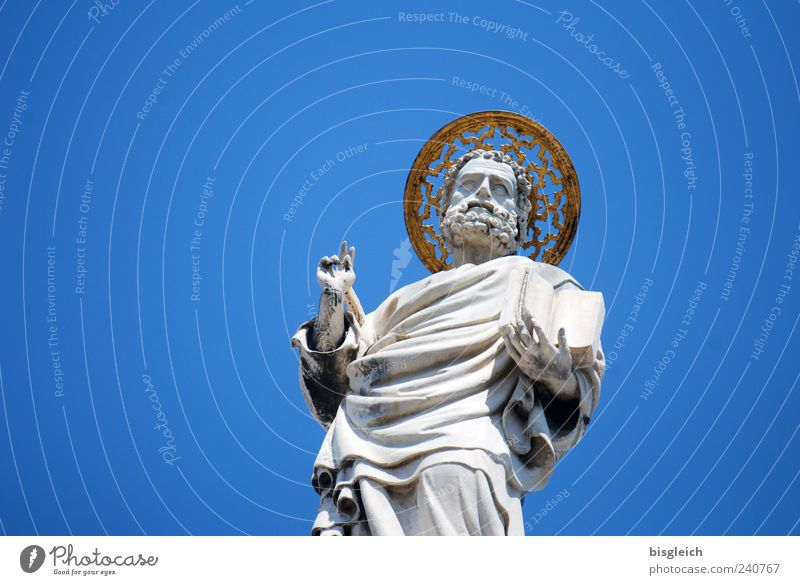 Basilica di San Marco / Venice IV Italy Europe Port City Downtown Old town Church Dome Statue Tourist Attraction Blue Gray St. Mark Benediction Bible Halo