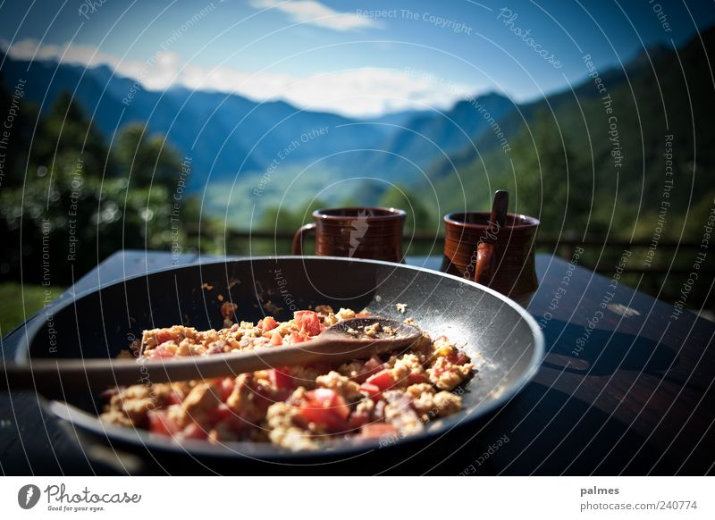 Scrambled eggs with bacon! Nutrition Breakfast Lunch Beverage Coffee Pan Landscape Summer Alps Mountain Power Vacation & Travel Cozy Colour photo Exterior shot