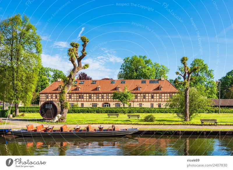 Large Spree harbour in Lübbenau Relaxation Vacation & Travel Tourism House (Residential Structure) Clouds Spring Tree Harbour Building Architecture Roof