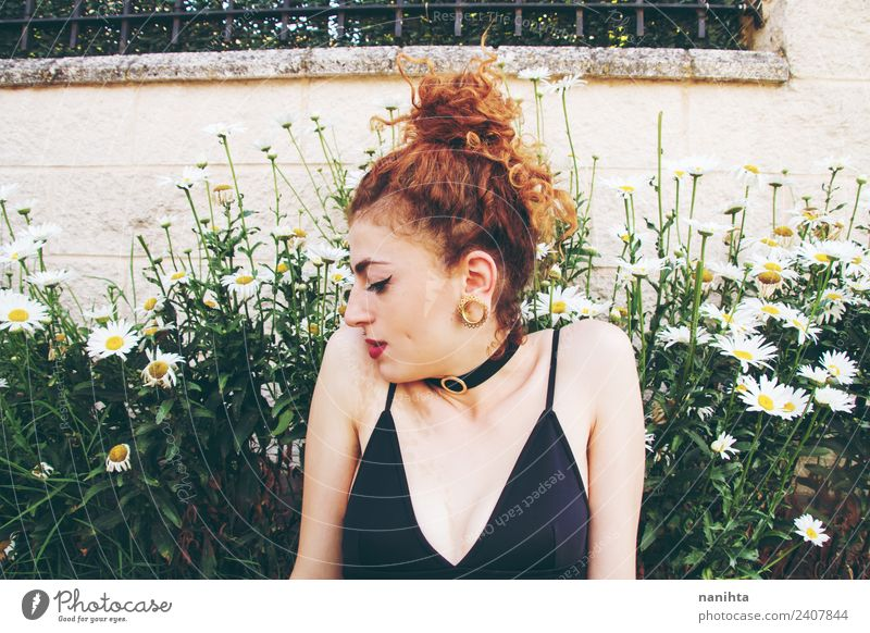 Young redhead woman in a garden of daisies Human being Nature Youth (Young adults) Young woman Summer Plant Beautiful Green Flower Relaxation 18 - 30 years