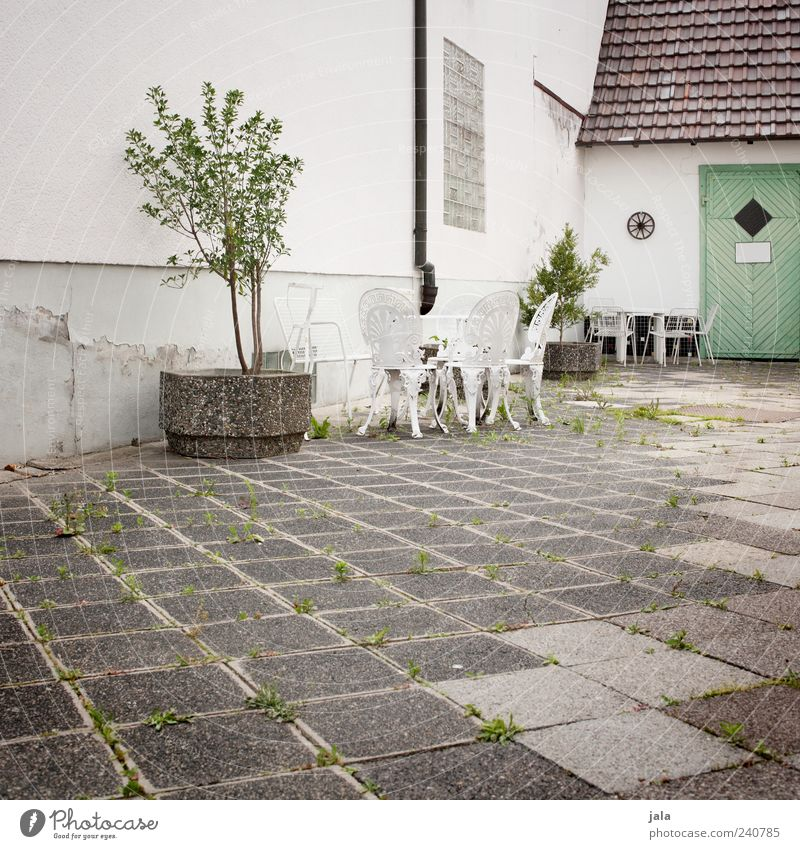 White Green Tree House (Residential Structure) Architecture Gray Building Door Places Table Gloomy Chair Manmade structures Furniture Backyard Courtyard
