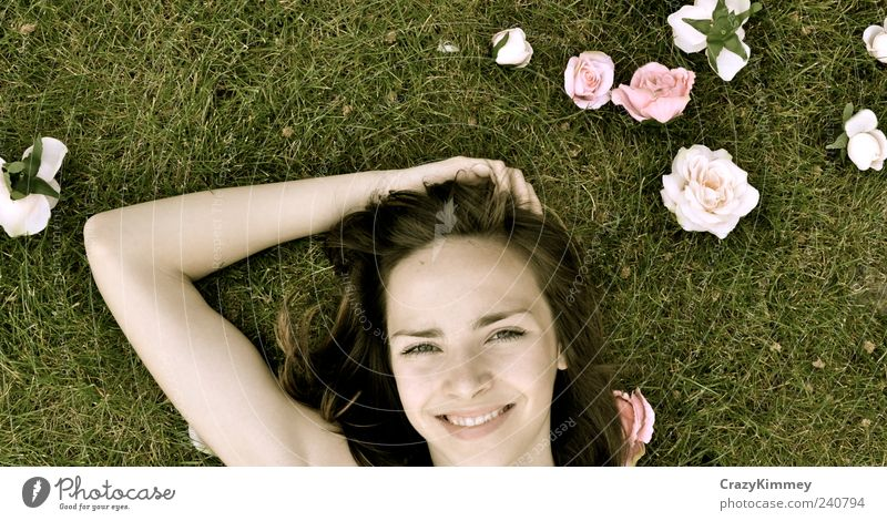 Nature White Green Relaxation Meadow Happy Garden Young woman Earth Contentment Pink Lie Free Happiness Rose Smiling