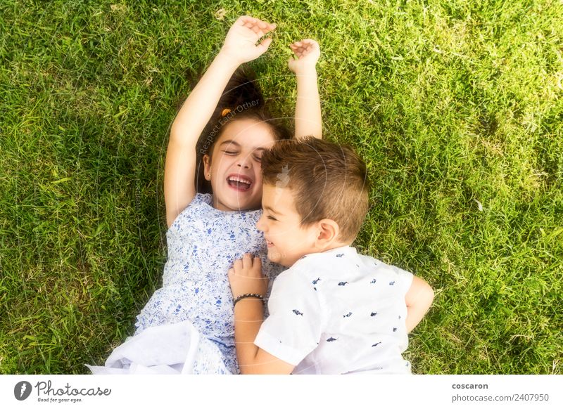 Two little kids playing on the green grass Joy Happy Beautiful Playing Summer Child Boy (child) Family & Relations Friendship Infancy Nature Grass Park Smiling