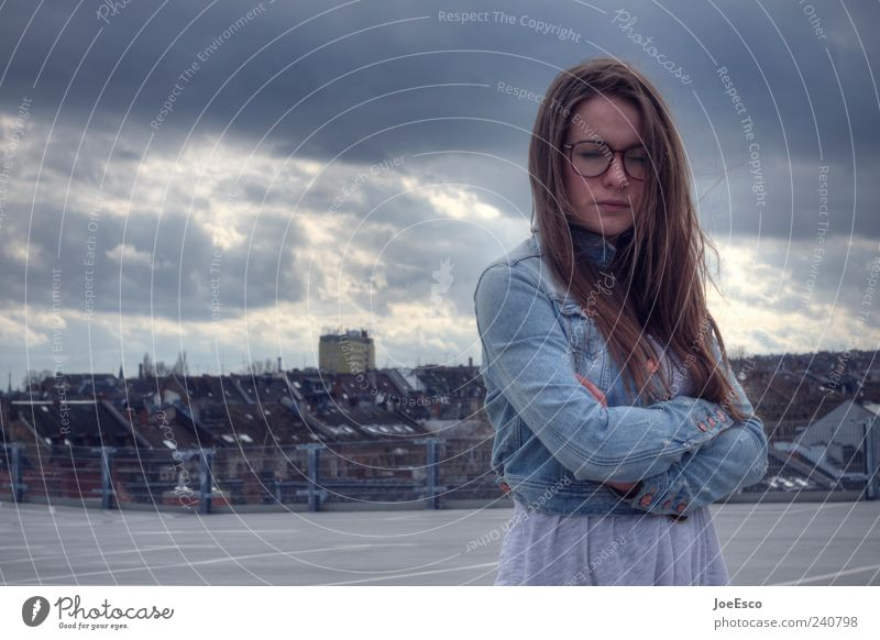 #240798 Woman Adults Town Downtown Skyline Jacket Eyeglasses Brunette Long-haired Relaxation To hold on Dream Sadness Wait Dark Natural Nerdy Beautiful Secrecy