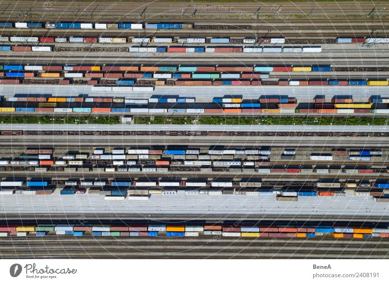 Freight trains and containers on tracks from above Economy Trade Business Transport Means of transport Traffic infrastructure Logistics Train travel Truck