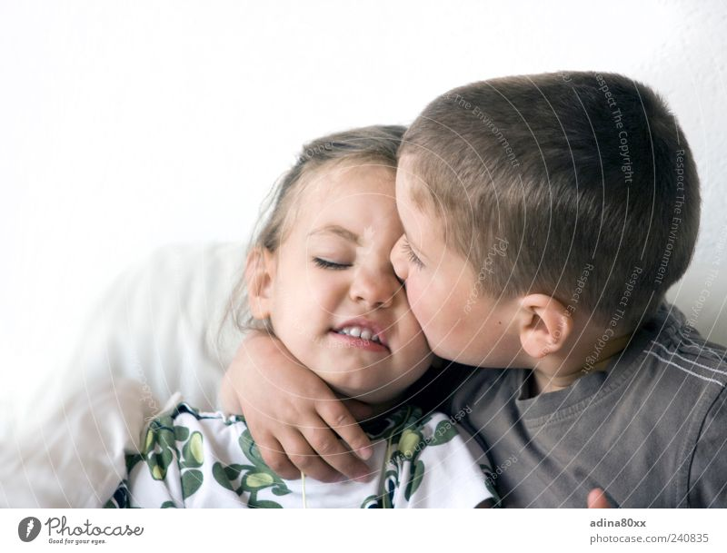 brotherly love Parenting Education Child Girl Boy (child) Brothers and sisters Sister Family & Relations Friendship Couple Life Kissing Dream Embrace Together