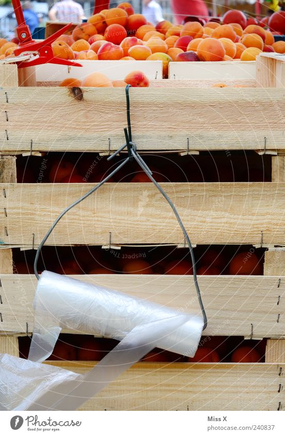Nutrition Orange Food Fruit Fresh Sweet Delicious Appetite Mature Harvest Crate Organic produce Plastic bag Vegetarian diet Apricot Farmer's market