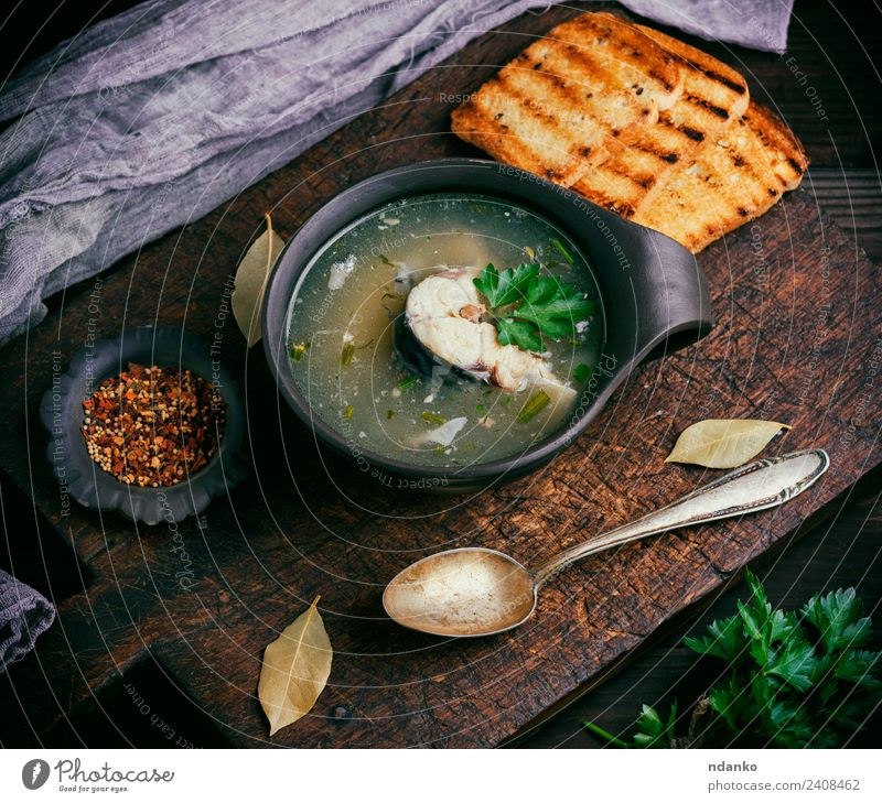 fish soup with mackerel Fish Seafood Vegetable Bread Soup Stew Nutrition Lunch Dinner Plate Bowl Spoon Table Kitchen Restaurant Wood Eating Fresh Hot Above