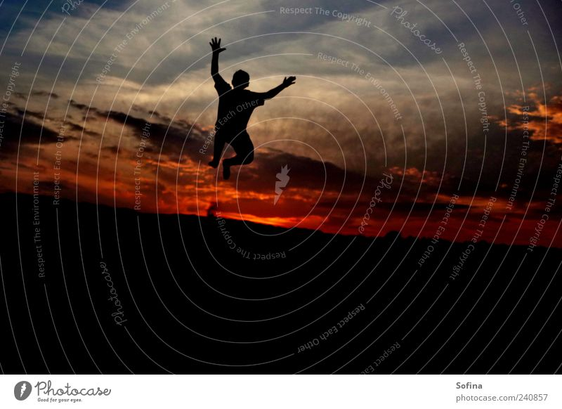 Human being Sky Youth (Young adults) Beautiful Summer Joy Clouds Movement Happy Jump Moody Horizon Power Free Success Fantastic