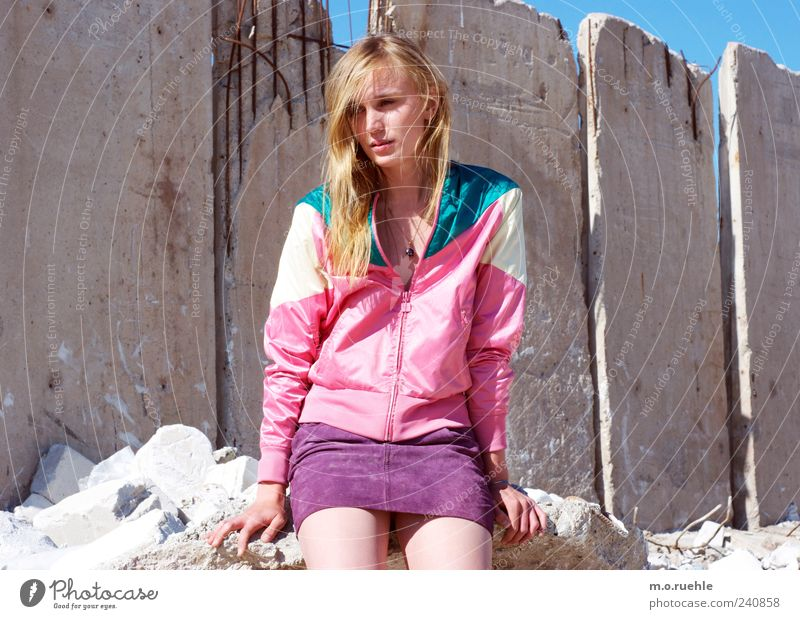 WorldEndParty/10 (soldiers almost whole armies) Style Feminine Young woman Youth (Young adults) Legs Garbage dump Skirt Jacket Blonde Emotions Moody Desire