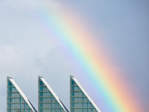 Rainbow over modern architecture Sky Deserted House (Residential Structure) Architecture Window Roof Illuminate Esthetic Authentic Exceptional Positive