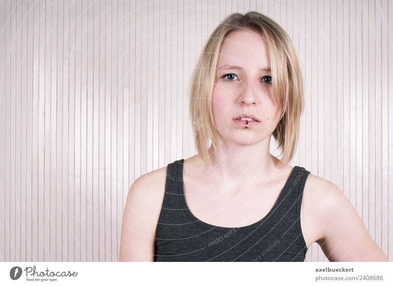 young blonde woman with lip piercing Lifestyle Human being Feminine Young woman Youth (Young adults) Woman Adults 1 18 - 30 years Piercing Blonde Authentic