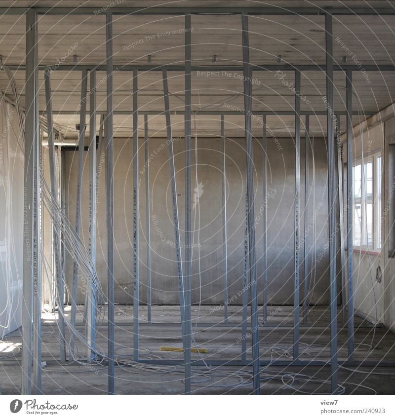 House (Residential Structure) Wall (building) Gray Wall (barrier) Metal Line Interior design Concrete Modern Esthetic Authentic New Cable Stripe Industry Construction site