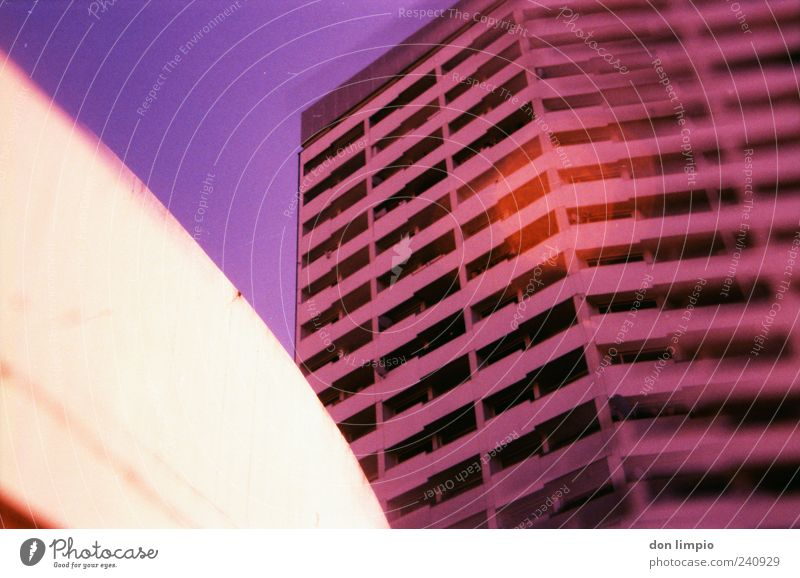 pink blurry building House (Residential Structure) St. Pauli Populated High-rise Building Wall (barrier) Wall (building) Balcony Concrete Living or residing