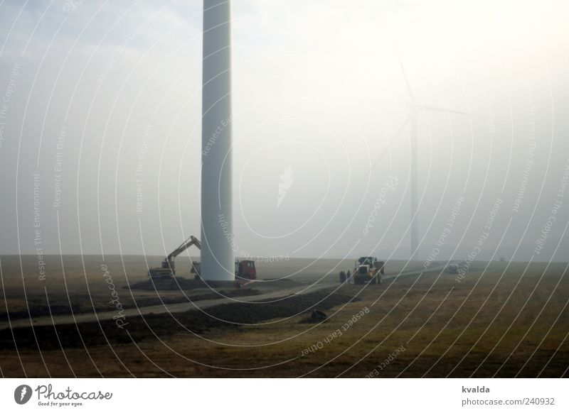 wind power Construction site Economy Industry Energy industry Renewable energy Wind energy plant Environment Nature Autumn Bad weather Fog Lanes & trails Build