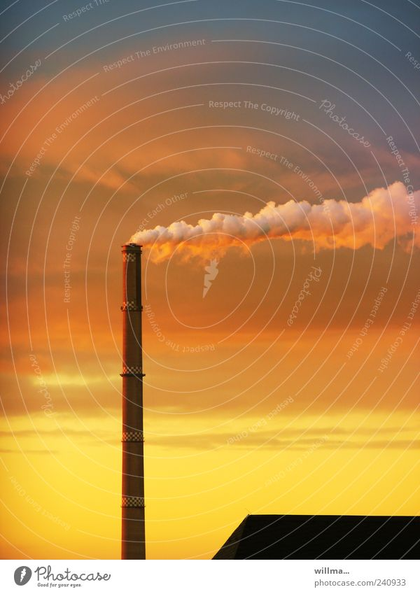 Sky Red Yellow Wind Energy industry Tall Roof Smoke Dusk Chimney Thermal power station Chemnitz