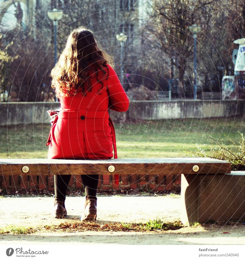 Human being Woman Red Loneliness Calm Adults Wood Stone Park Sit Wait Bench Curl Long-haired Coat Black-haired